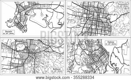 Ballarat, Toowoomba, Cairns and Darwin Australia City Maps in Black and White Color. Outline Maps.