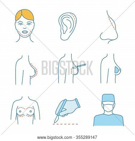 Plastic Surgery Color Icons Set. Chin, Ear, Nose Shape Correction Surgery, Breast Augmentation, Scal