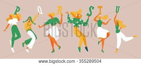 Dancing Girls With Elements Of Alphabet In Their Hands. English Letters P, Q, R, S, T, U. Green And