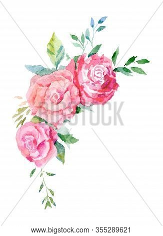 Universal Composition Of Rose Flowers Made In Watercolor Technique