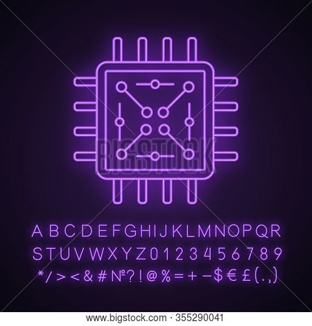 Processor With Electronic Circuits Neon Light Icon. Microprocessor With Microcircuits. Chip, Microch