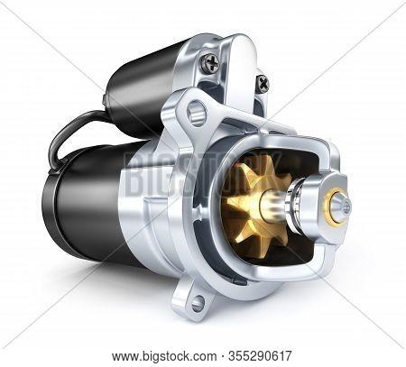 Car Starter Motor On White Background. 3d Illustration