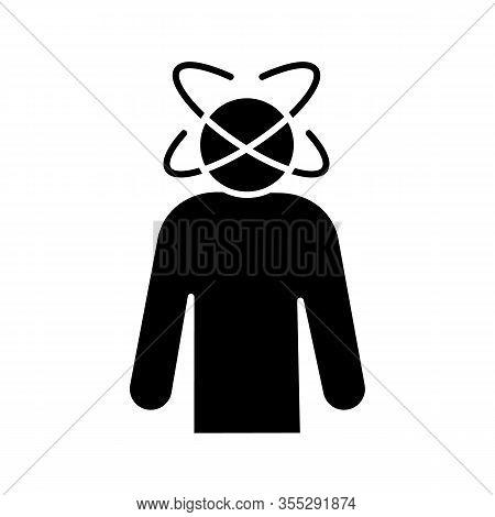 Dizziness Glyph Icon. Person Feeling Dizzy. Physiological Stress Symptoms. Vertigo, Giddiness. Spinn