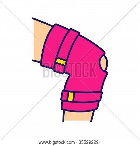 Knee Brace Color Icon. Adjustable Leg Orthosis. Orthopedic Knee Joint Bandage. Arthritis, Muscle Spr
