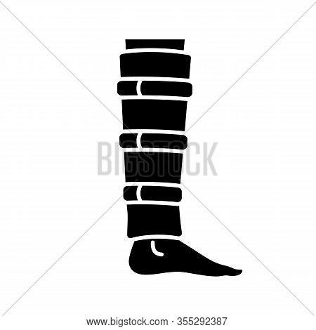 Shin Brace Glyph Icon. Shin Support. Adjustable Calf Brace. Silhouette Symbol. Lower Leg Compression