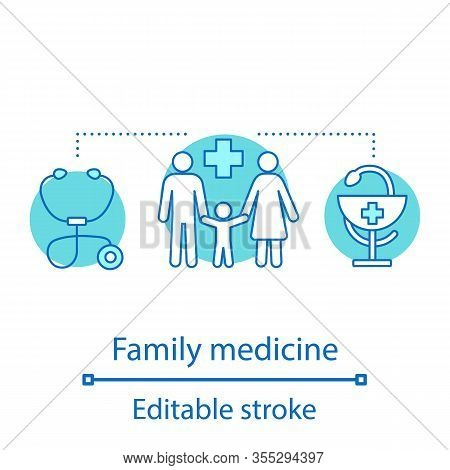 Family Medicine Concept Icon. General Practice Idea Thin Line Illustration. Medicine And Healthcare.