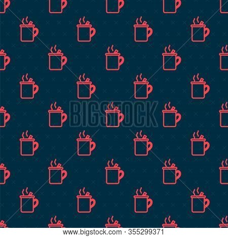 Red Line Mulled Wine With Glass Of Drink And Ingredients Icon Isolated Seamless Pattern On Black Bac