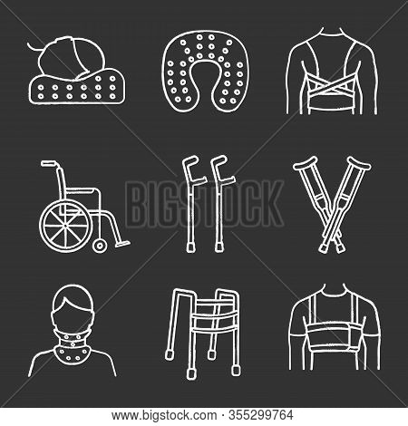 Trauma Treatment Chalk Icons Set. Posture Corrector, Neck Orthopedic Pillow, Wheelchair, Axillary An