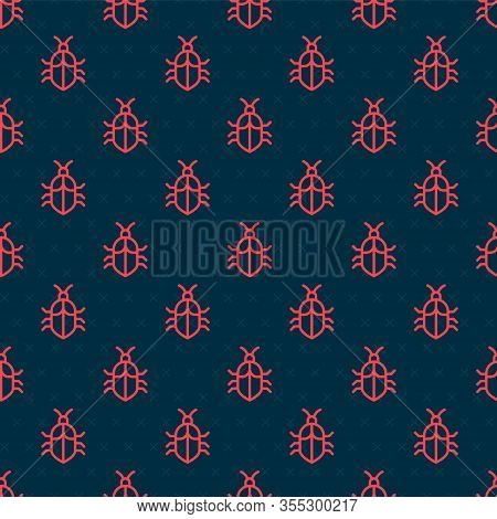 Red Line System Bug Concept Icon Isolated Seamless Pattern On Black Background. Code Bug Concept. Bu