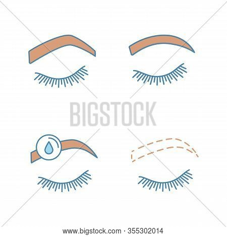Eyebrows Shaping Color Icons Set. Steep Arched And Rounded Eyebrows, Makeup Removal, Brows Contourin