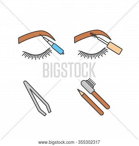 Eyebrows Shaping Color Icons Set. Brows Microblading, Mascara, Cosmetic Tweezer, Eyebrows Contouring
