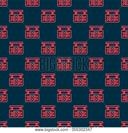 Red Line Sex Shop Icon Isolated Seamless Pattern On Black Background. Sex Shop, Online Sex Store, Ad