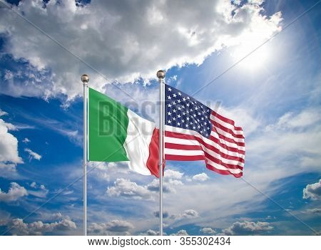 United States Of America Vs Italy. Thick Colored Silky Flags Of America And Italy. 3d Illustration O