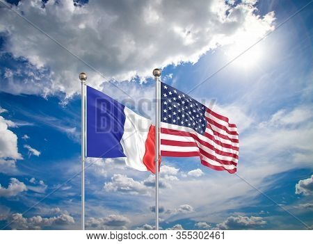 United States Of America Vs France. Thick Colored Silky Flags Of America And France. 3d Illustration