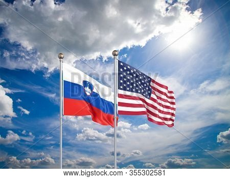 United States Of America Vs Slovenia. Thick Colored Silky Flags Of America And Slovenia. 3d Illustra