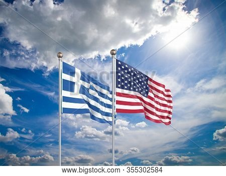 United States Of America Vs Greece. Thick Colored Silky Flags Of America And Greece. 3d Illustration