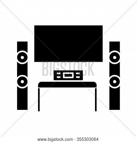 Home Theater System With Tv Glyph Icon. Tv Set With Audio System. Home Cinema. Television And Loudsp