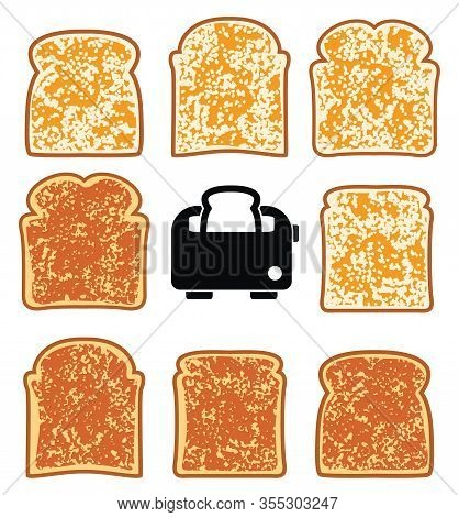Vector Toasted Bread Slices And Toaster Isolated On White Background. Crispy Breakfast Toasts Of Whi