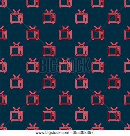 Red Line Retro Tv Icon Isolated Seamless Pattern On Black Background. Television Sign. Vector Illust