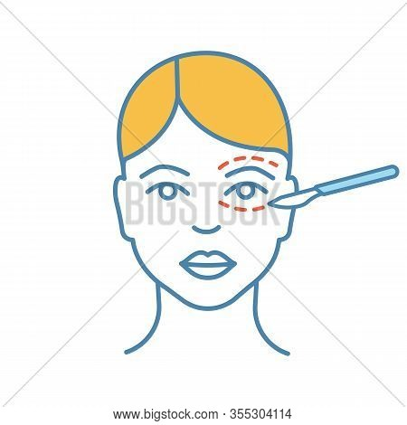 Blepharoplasty Color Icon. Eyelid Plastic Surgery. Eye Lift Surgery. Surgical Facial Rejuvenation. I