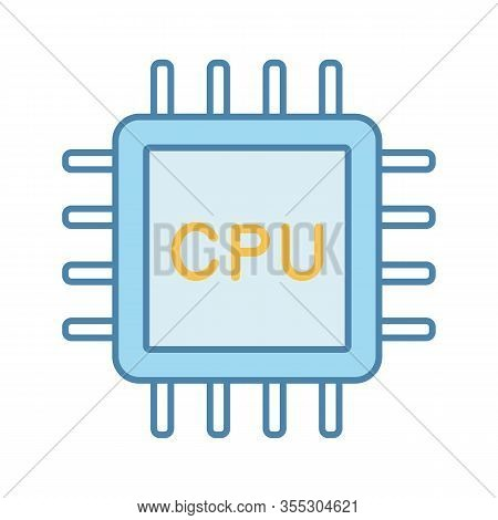 Cpu Color Icon. Electronic Microchip, Chipset, Chip. Central Processing Unit. Computer, Phone Proces