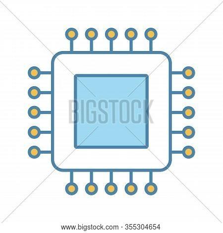 Processor Color Icon. Microprocessor. Cpu. Central Processing Unit. Integrated Circuit. Computer, Ph
