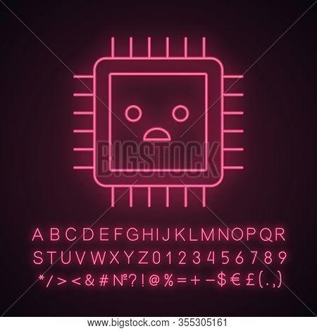 Sad Processor Neon Light Icon. Bad Cpu. Microprocessor Failure. Central Processing Unit Problems. In