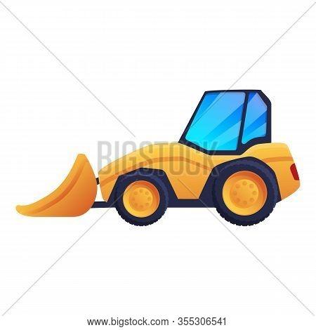 Road Repair Bulldozer Icon. Cartoon Of Road Repair Bulldozer Vector Icon For Web Design Isolated On