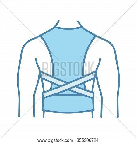 Posture Corrector Color Icon. Back Brace. Back Support. Orthopedic Thoracolumbar Corset. Posture Sup