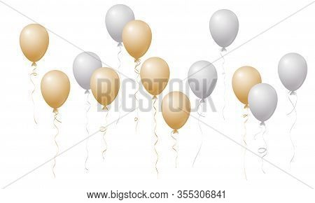 Flying Balloons Isolated Vector Illustration, Baby Shower, Birthday Party, Wedding Decoration Elemen