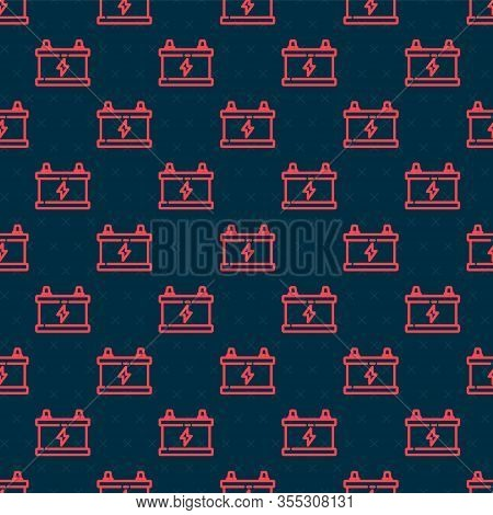 Red Line Car Battery Icon Isolated Seamless Pattern On Black Background. Accumulator Battery Energy