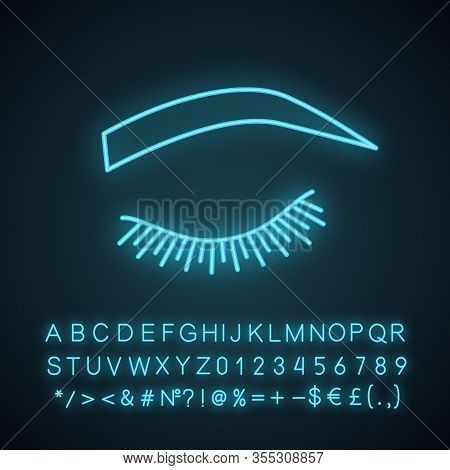 Soft Arched Eyebrow Shape Neon Light Icon. Rounded, Curved Eyebrows. Brows Shaping By Tattooing. Clo