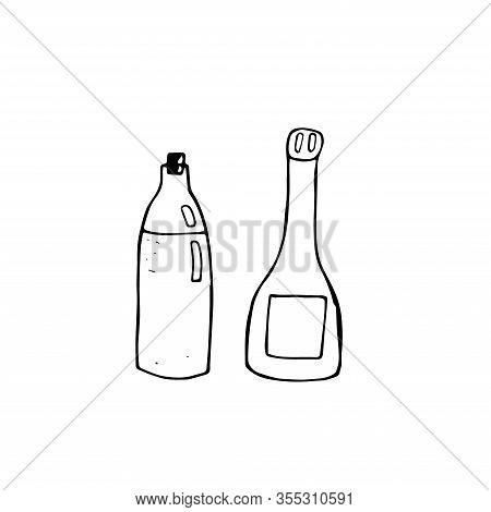 Set Of Olive Oil Bottle And Vinegar