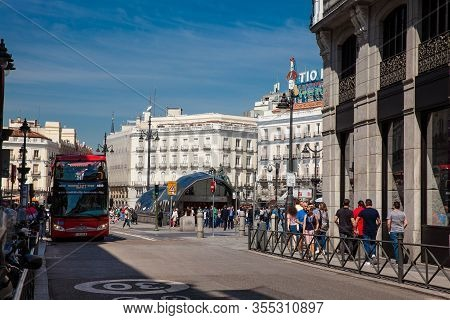Madrid, Spain - May, 2018: View Of The Public Transport At Plaza Del Sol Square Including Sol Metro