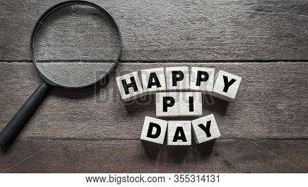 Inspirational Of Pi Day Celebration - Text Happy Pi Day Written On Wooden Block