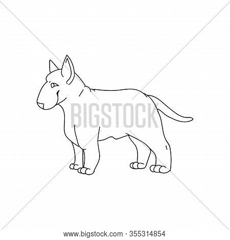 Cute Cartoon Bull Terrier Dog Breed Monochrome Lineart Vector Clipart. Pedigree Kennel Show Dog For