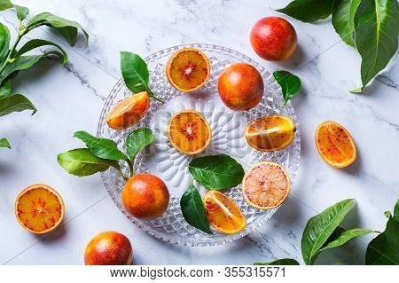 Sweet Sicilian Blood Oranges On A Marble Table