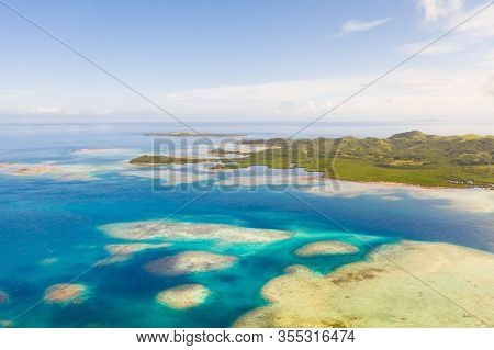 Bucas Grande Island, Philippines. Beautiful Lagoons With Atolls And Islands, View From Above. Seasca