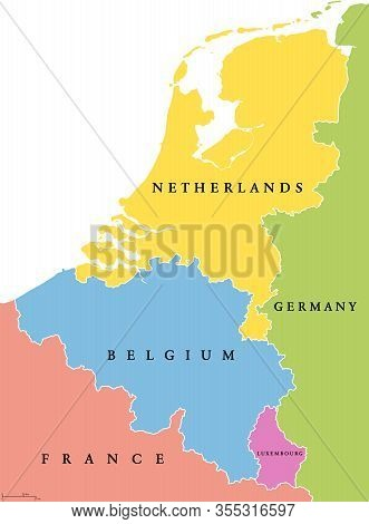 Benelux Single States Political Map. Region Formed By The Countries Belgium, Netherlands And Luxembo