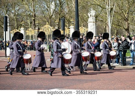 London, United Kingdom, March 8th 2020:- British Soldiers March On The Mall Near Buckingham Palace