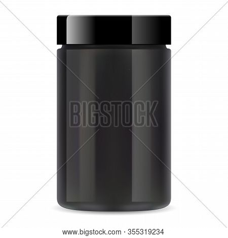 Black Plastic Jar. Protein Supplement Container Mockup. Whey Protein Powder Can For Bodybuilding Wit
