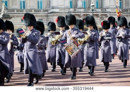 London, United Kingdom, March 8th 2020:- British Soldiers Marching Outside Buckingham Palace