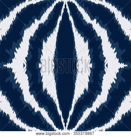 Cloud Tie Dye Elegant Vector Seamless Pattern. Indian Repeat Tribal Background. Psychedelic Uzbek Pr