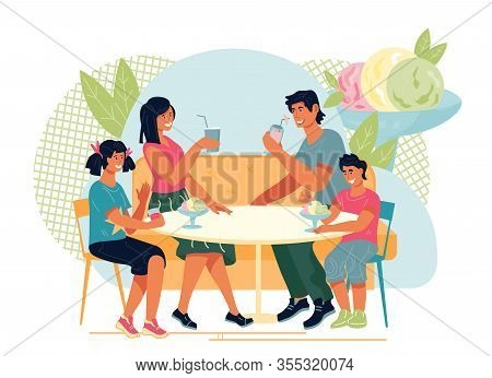 Family With Children Eating In Ice Cream Parlor Or Cafeteria.