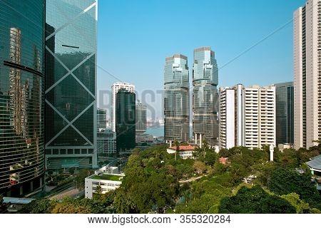 Skyline Of Buildings At Admiralty And Hong Kong Park, Chung Wan (central District), Hong Kong, China