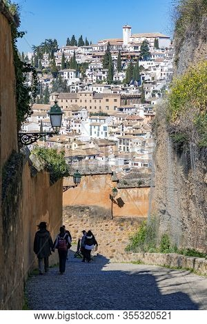Inclined Street That Ends In A Conglomerate Of Typical Andalusian Houses