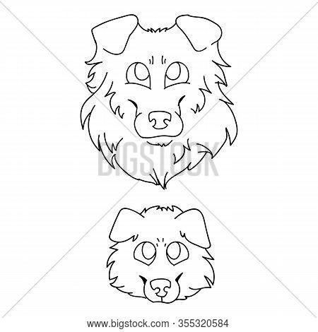 Cute Cartoon Rough Collie Dog And Puppy Faces Monochrome Vector Clipart. Pedigree Kennel Sheepdog Li