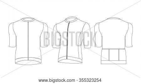 Cycling Jersey Template Out Line Isolated  On White Background Vector.