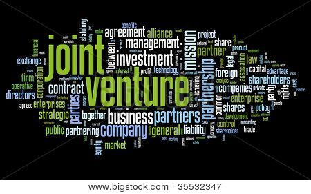 Joint venture concept in tag cloud on black background