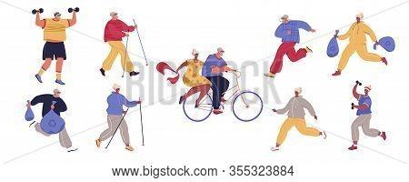 Actve Older Adult Couple Jogging, Plogiing, Nordic Walking, Biking. Man And Woman In Sport Suits Doi